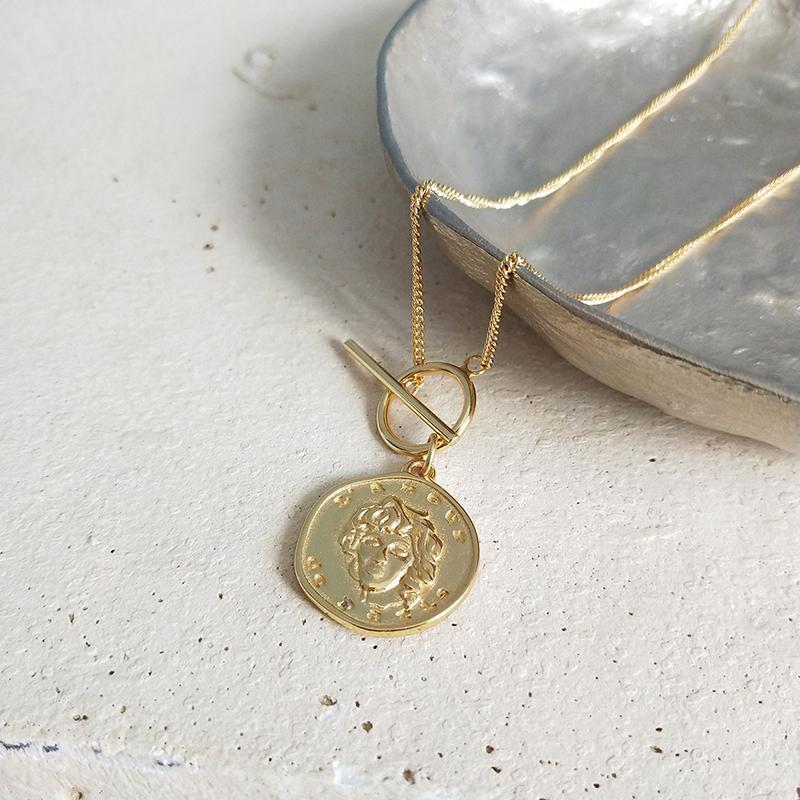 Großhandel Perisbox Chic Gold Farbe Porträt Münze Anhänger