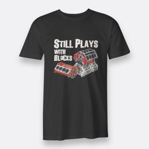 Still Plays With Block Mechanic Engine Black Tee T-shirt Men's sz S-3XL