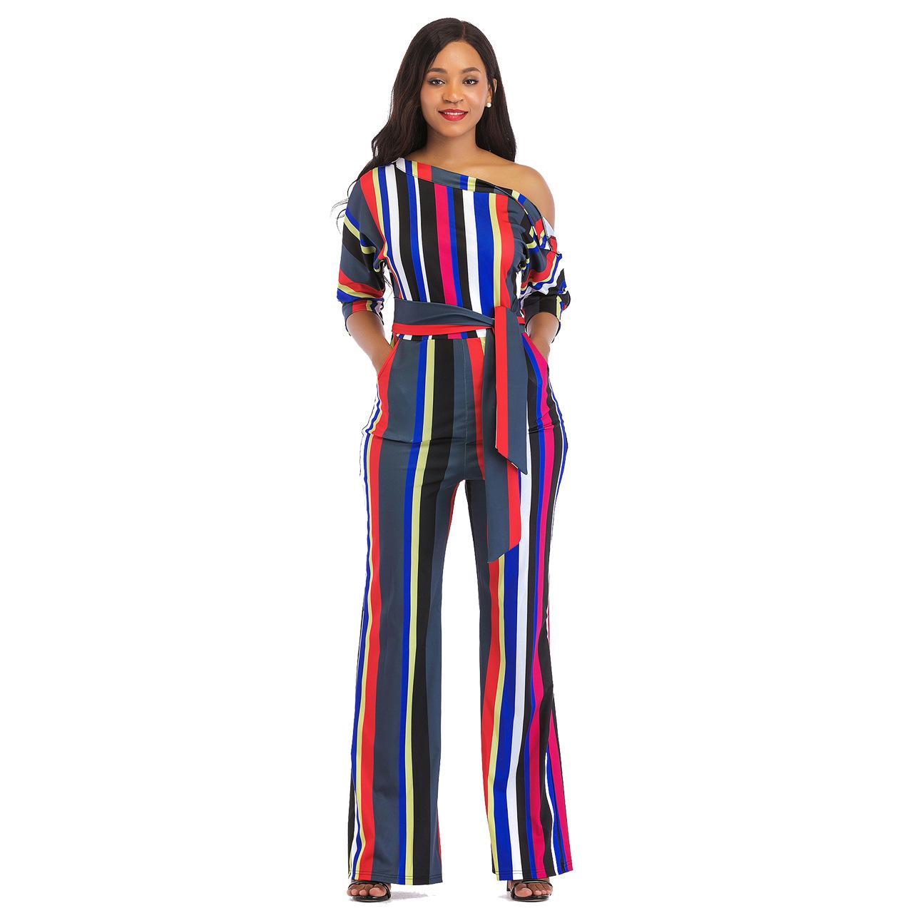 Acheter Couleur Rayure Impression Jumpsuit Pleine Longueur Une Épaule Mode  Barboteuse 5 Style Femme Combinaisons Minces De  39.2 Du Yushaoe  0bede869dbb
