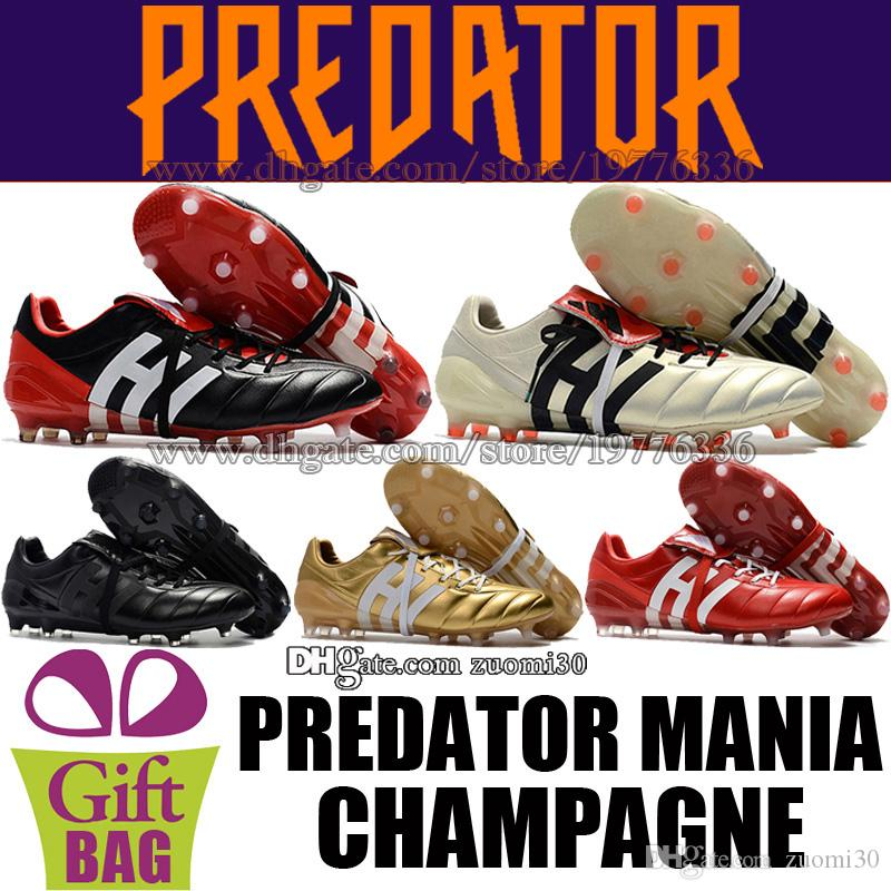 2019 Mens Leather Soccer Shoes Predator Mania Champagne FG Football Boots  Outdoor Soccer Cleats Red Black Gold Predator Football Shoes Size 39 46 From  ... ac123b95b8a