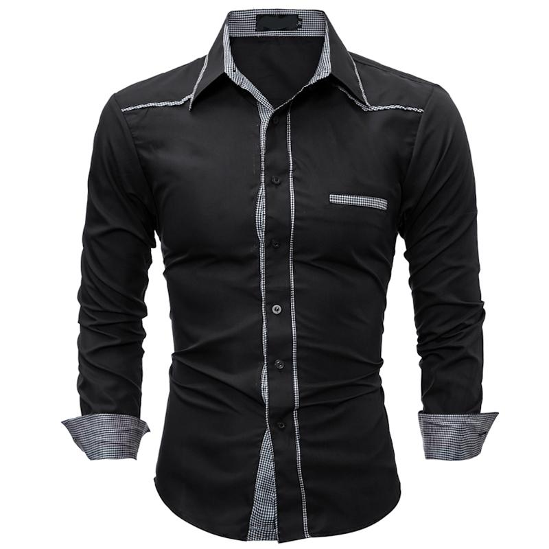 ea2ac0a720 2019 Men S Brand Shirt 2018 New Fashion Men S High Quality Plaid Stitching Long  Sleeve Shirt Top Casual Slim Social Dress From Edward03