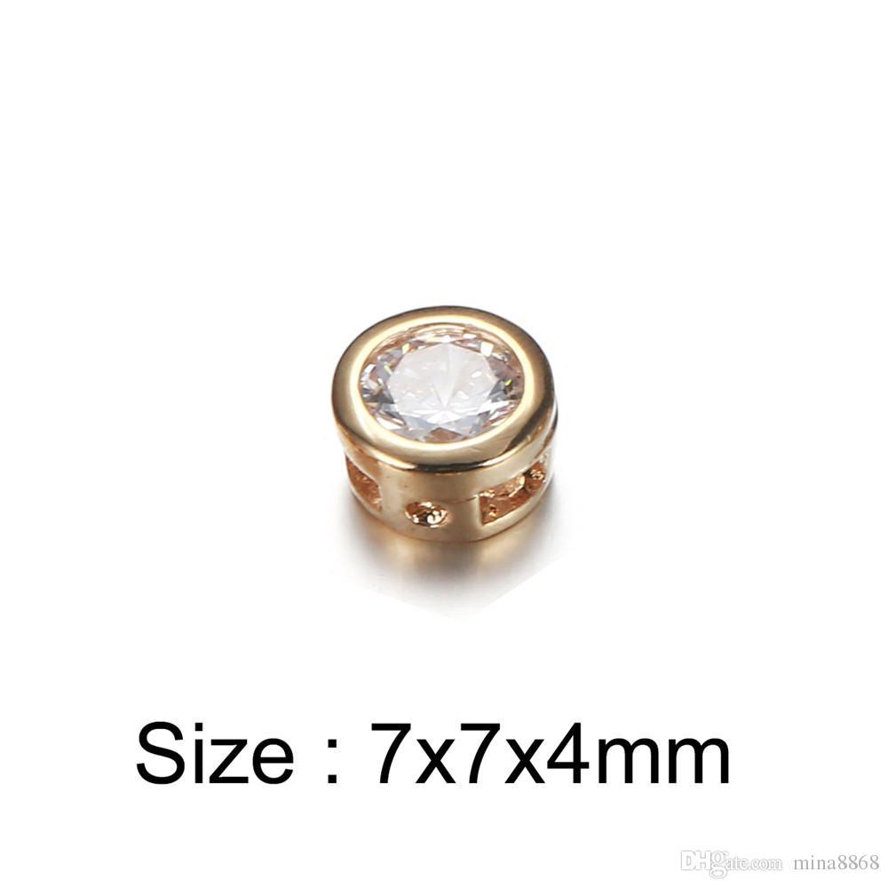 50 pçs / lote 7 * 4mm cor de Ouro Rodada Encantos De Cristal Para Colares Pulseiras Zircão Acessórios de Jóias Fazendo Artesanato Por Atacado