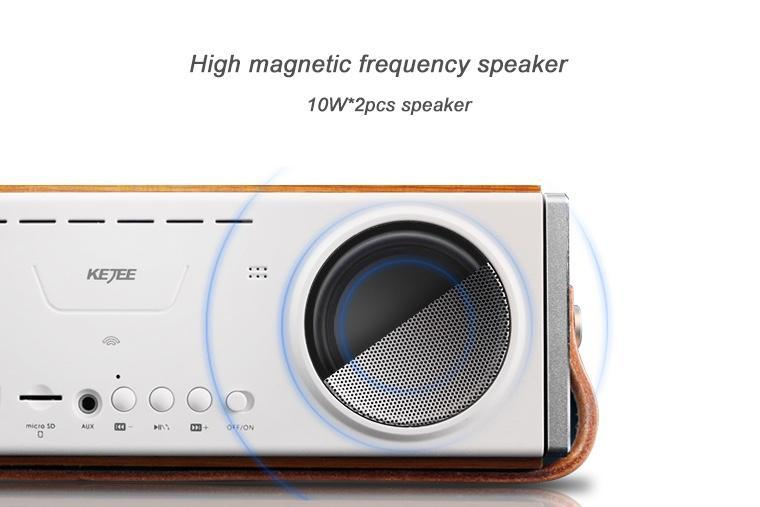 Computer Speakers Wireless Bluetooth 4.1+EDR 3600mAh battery Wooden case Heavy Bass Portable with Leather handle 20W Subwoofer