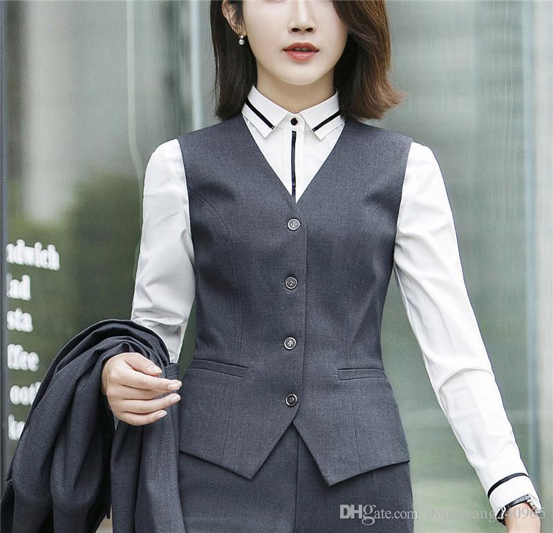 Blazer + Vest + Pant Formale Damen Büro OL Uniform Designs Frauen elegante Business Rock / Hose Anzüge Arbeitskleidung Jacke mit Hosen