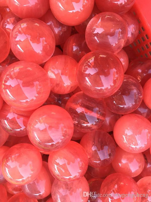 one New naturalRed smelting crystal ball crystal ball transparent ball hot sale merchandise, bulk sale, without standing.