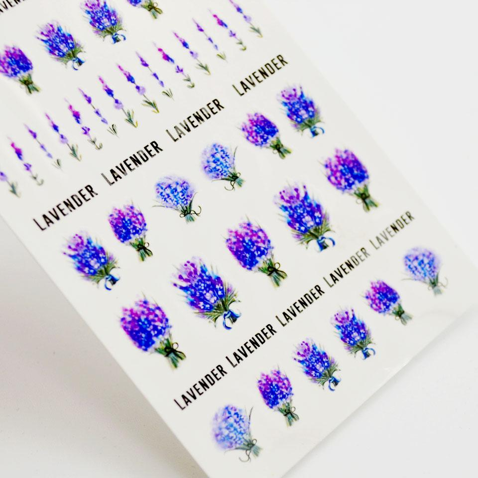 Stickers For Nails Lavender Stickers On Nails Purple Blooming Flower ...