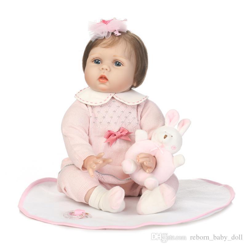22 pulgadas muy suave vinilo de silicona renacer muñeca realista real touch niños regalos de boda