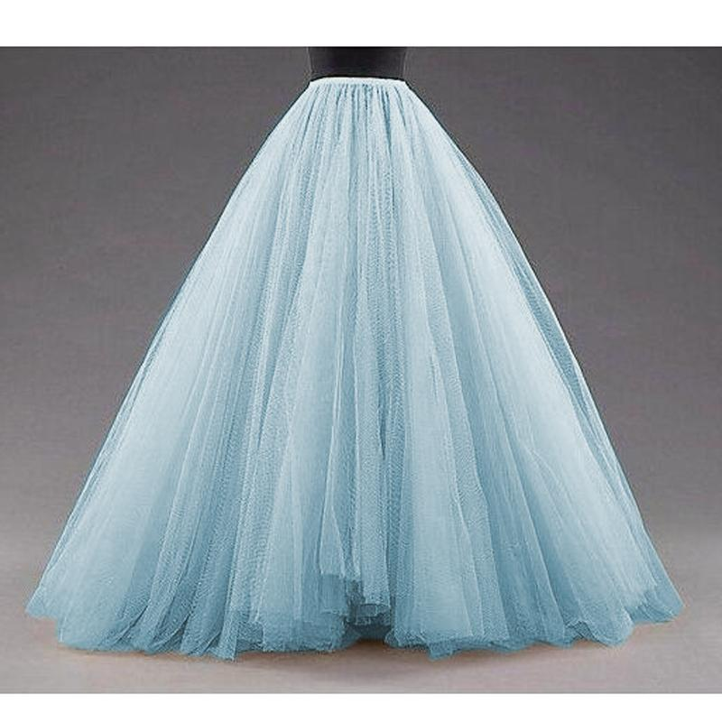 6fd32429 2019 Sky Blue Puffy Long Tulle Skirts Women Vintage Gold Female Tutu Skirt  For Bridal Photoshoots Custom Made Christmas Saias From Bishops, $53.25 |  DHgate.