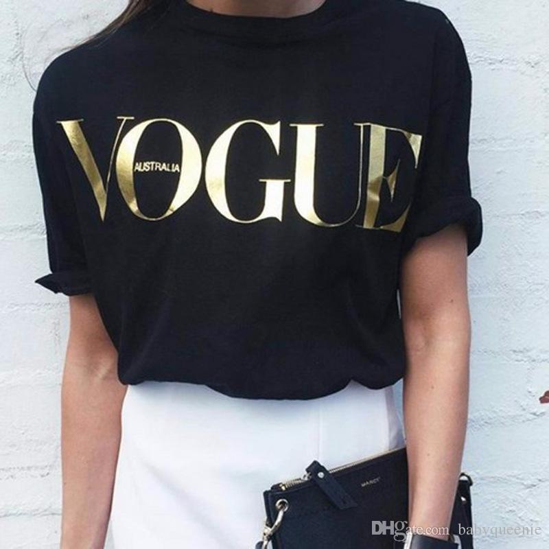 34098fdfb879a Compre Camiseta De Oro VOGUE Carta Para Mujer Camisetas De Moda Para Las  Mujeres De Manga Corta Cuello Redondo Camisetas Gráficas Casual Tops Para  Mujer ...