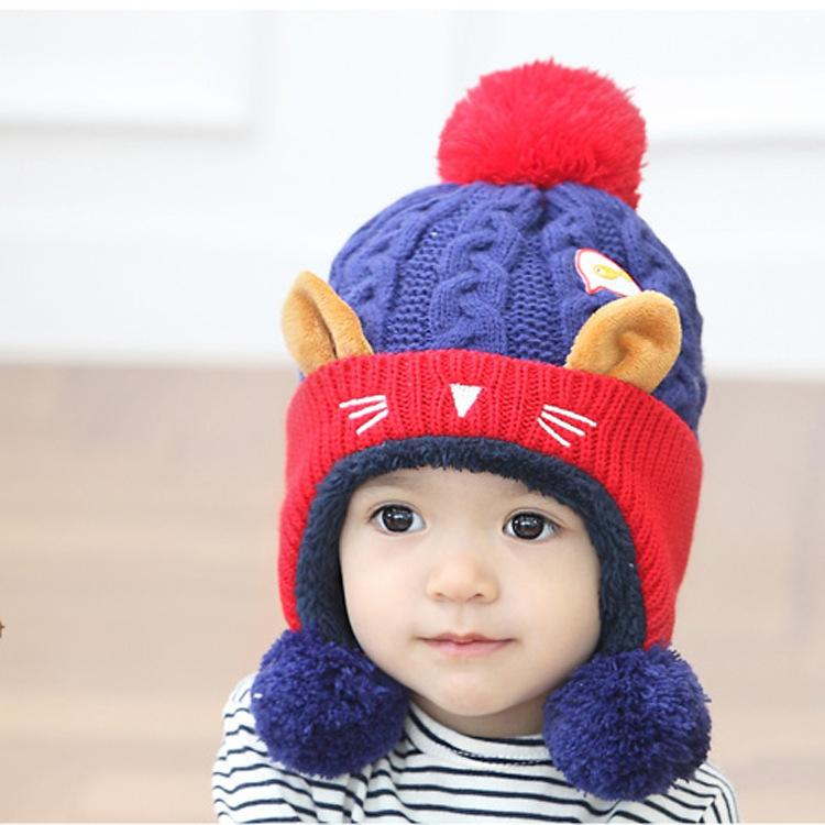 2018 Lovely Baby Animal Cat Fleece Hats Thicken Kids Winter Warm Earflap  Caps Cute Fashion Infant Boys Girls Beanies Cap Hats Black Baseball Cap  Knitted ... dd52a890f611