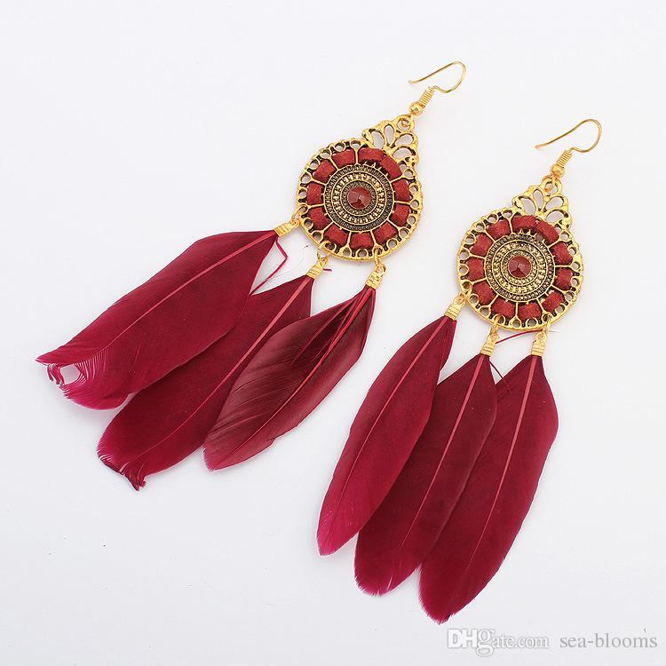 6 couleurs style ethnique vintage mode cercle chaîne de plumes boucles d'oreilles gland feuille de plumes balancent boucle d'oreille goutte d'or bijoux des femmes livraison DHL H52R