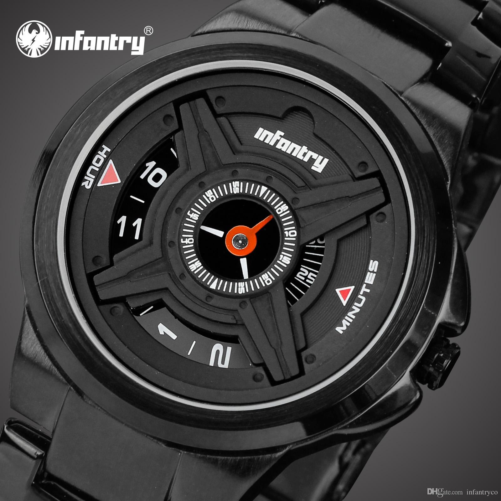 cc18851ea5b Compre INFANTARIA Relógio Esportivo Dos Homens Marca De Moda Relógios  Militares Relógio De Pulso Preto Para Homens Piloto Pulseira De Aço  Inoxidável ...