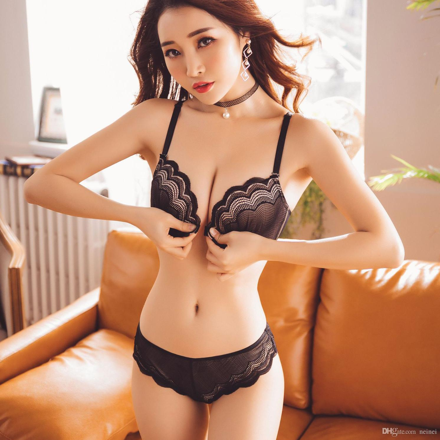 2a7311867f0 2019 Sexy Gathers Comfortable Front Closure Lingerie Suits Beautiful Back Fresh  Fresh Lace Breathable Push Up Underwear Women Bra Set From Neinei