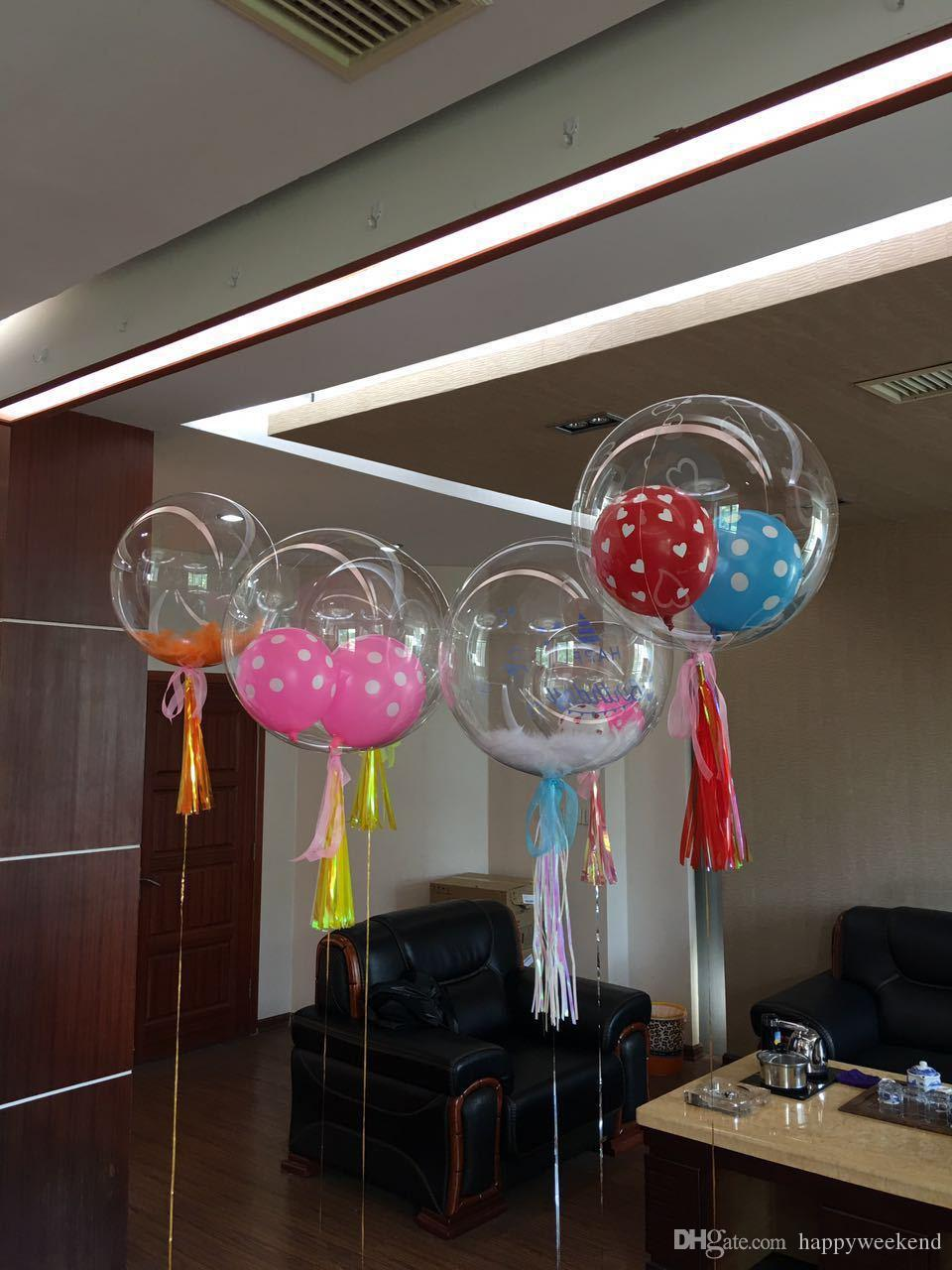 En gros 24 pouces Pas de Ride Bobo Transparent Ballons Clair Mariage Mariage Decro Hélium Gonflable Balles Enfants Amants Cadeaux Jouets