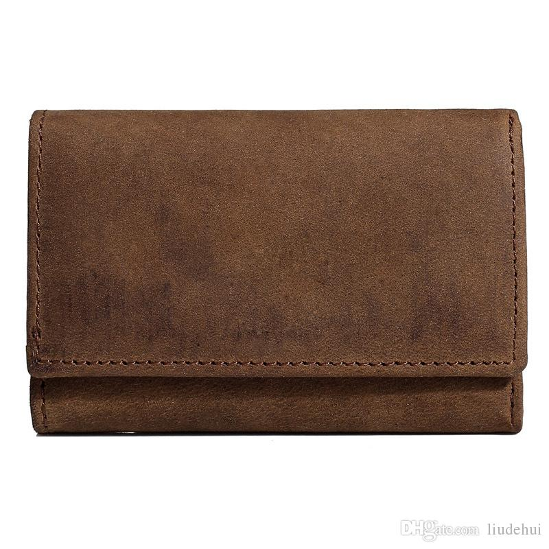 New high-end design foreign trade hot leather key bag multi-function three-fold coin purse first layer leather car key bag fast delivery