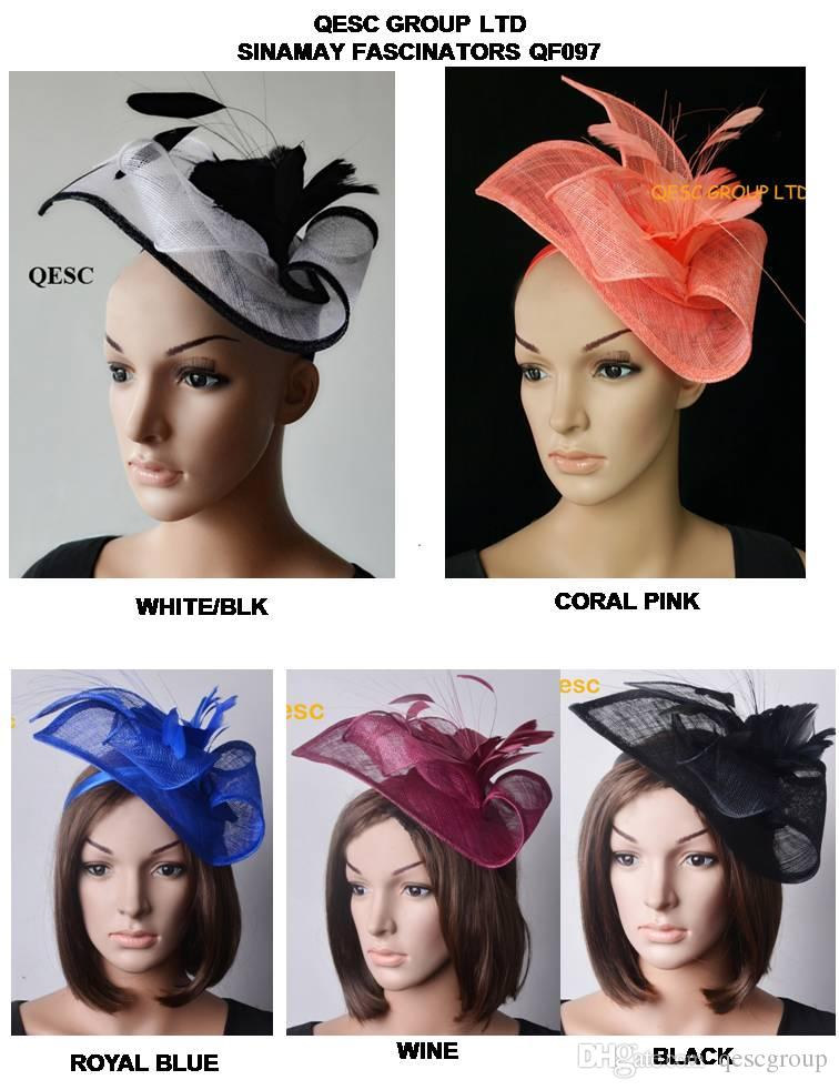 White Black Royal Blue Wine Coral Pink .Sinamay Fascinator Hat Feather  Flower For Ascot Races 5ffd7d8d375