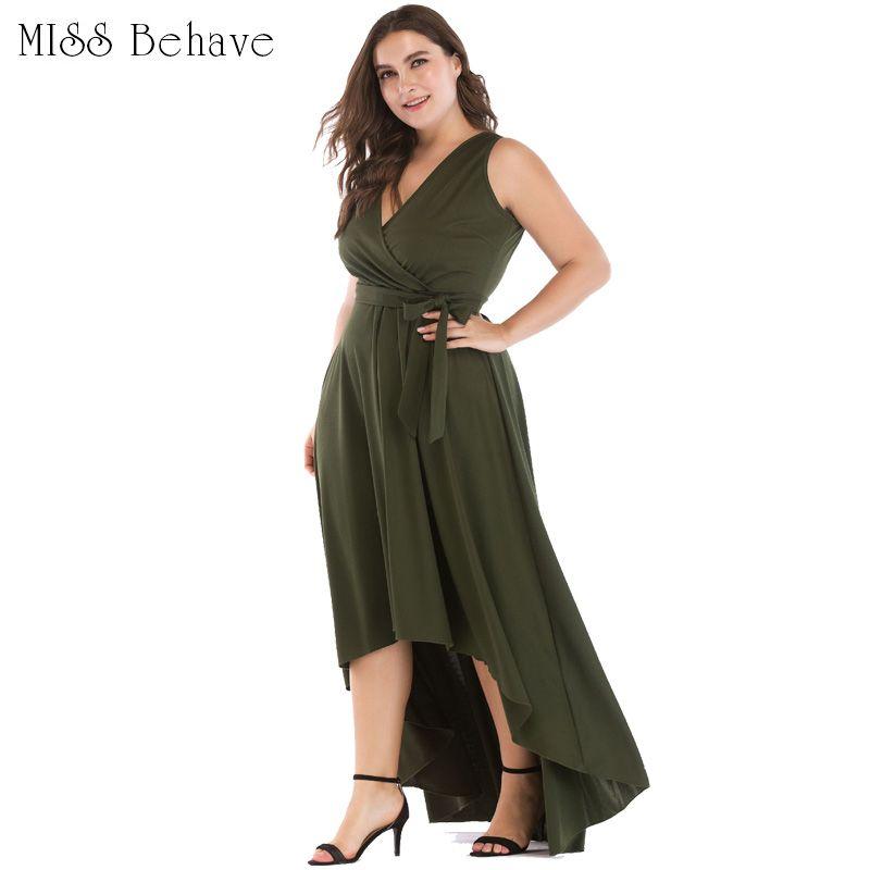 Women Long Dress Plus Size Empire Waist Maxi Dresses Sexy V Neck