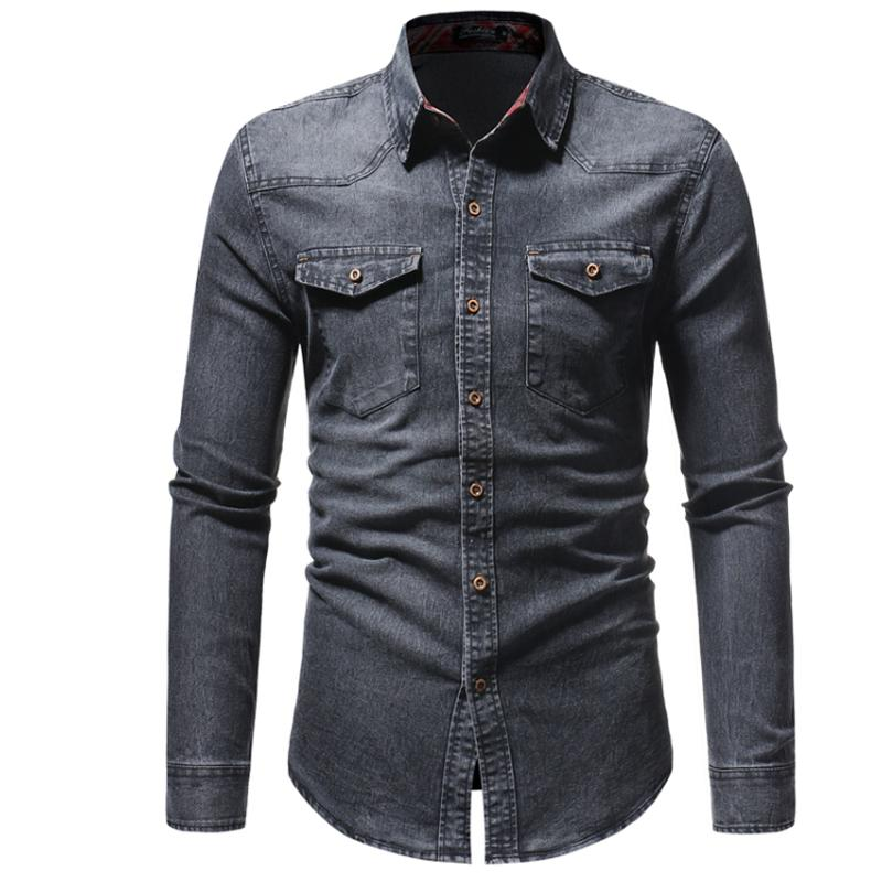 81a094c21 2019 Mens Shirts Brand 2018 Men Shirt Cowboy Dress Shirt Long Sleeve For  Men Slim Fit Camisa Masculina Casual Male Camisas Hombre S From Cety