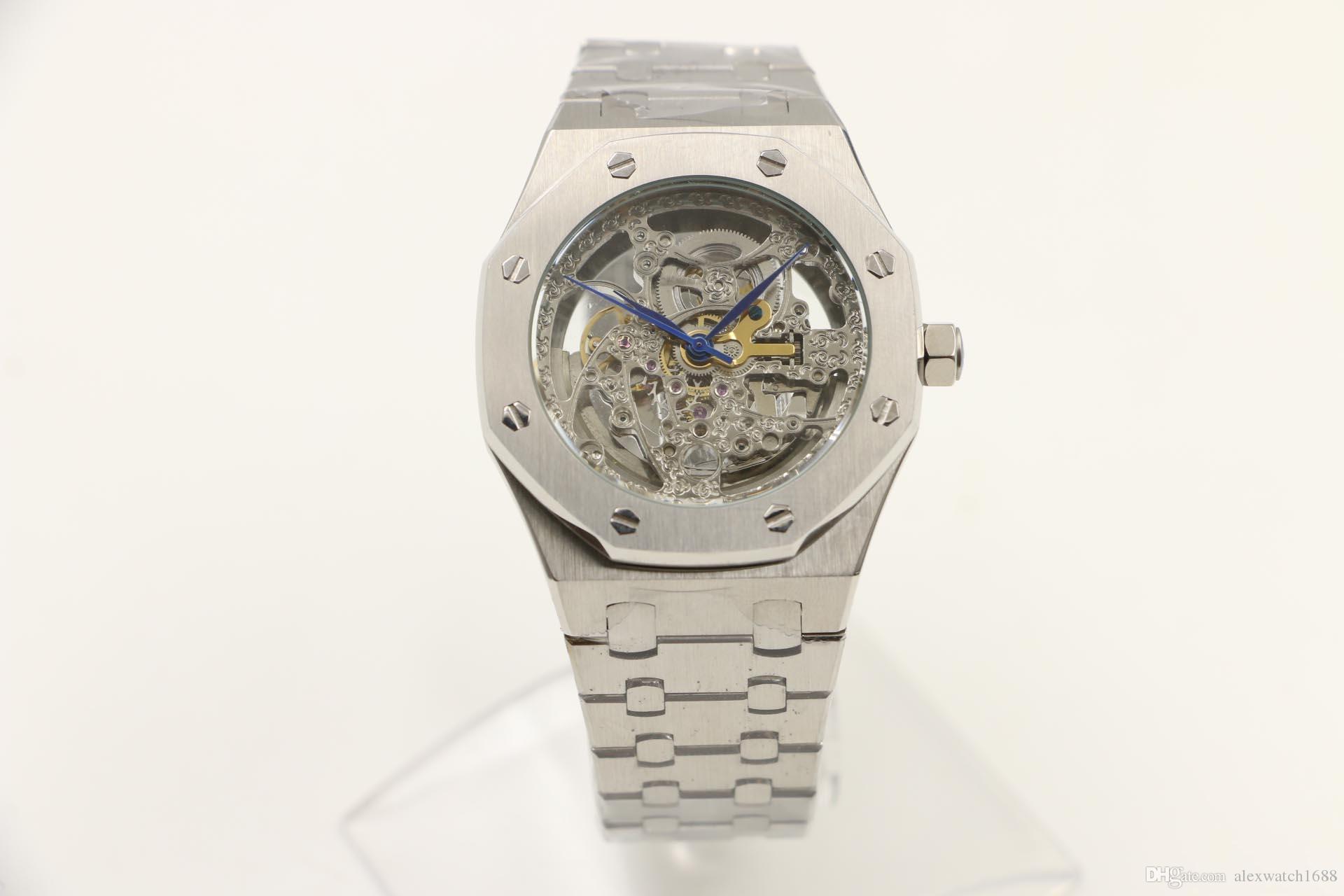45a835fc2b4 Compre Relógio De Esqueleto Completa Transparente Dos Homens Relógios  Relógio De Pulso Full Strainless Vidro De Vidro De Volta Automático De Luxo  Relógios ...