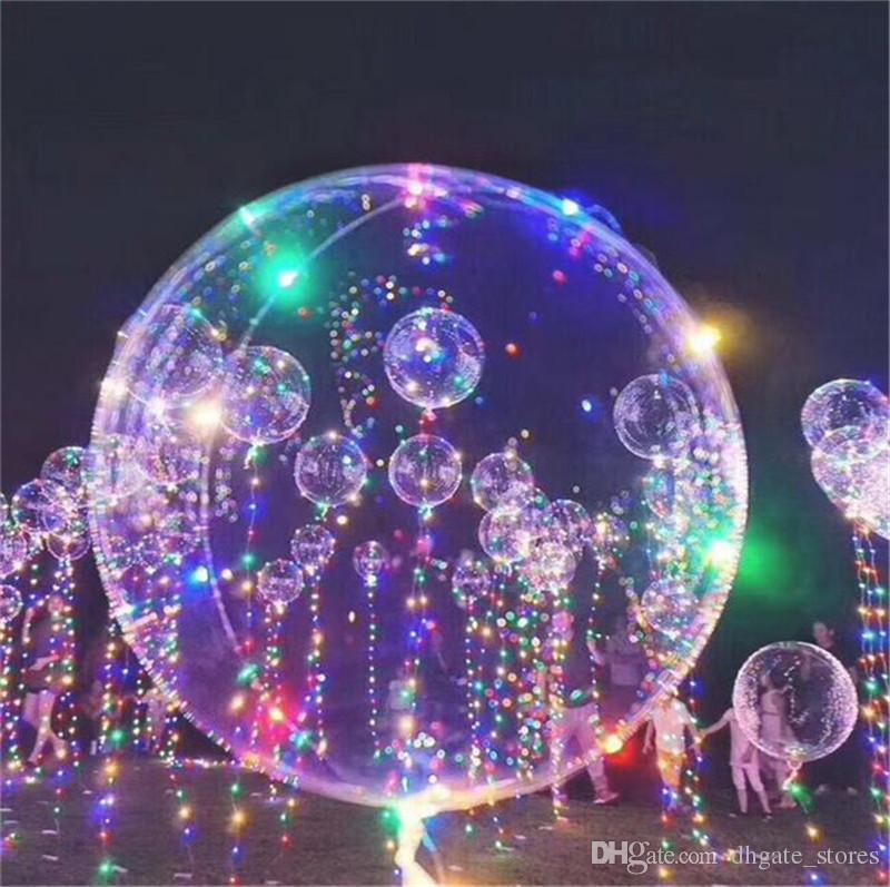 18inch led bobo balloon balls with 3m light string led poms light up clear balloons transparent wave transaparent balls balloons decor online with