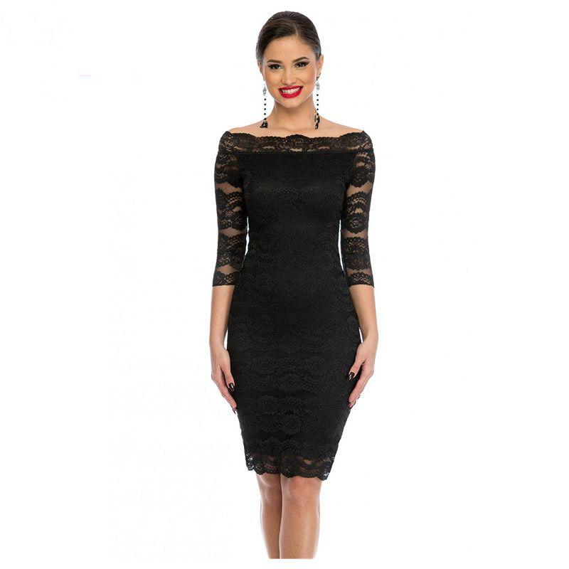 c900c641d9 Office Ladies Dress Party Slash Nech Black Lace Scalloped Off Shoulder Midi  Dress Fall Vestido De Renda Festa Designer Cocktail Dress Dress Clothing  From ...