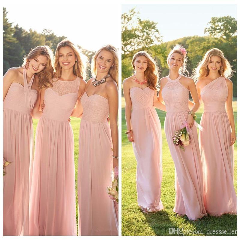 16fd59f088 2018 Cheap Lace Pink Chiffon Long Custom Bridesmaid Dresses Mixed Style Blush  Bridesmaid Formal Honor Of Maid Vestidos De Bridesmaids Bridesmaid Dresses  ...