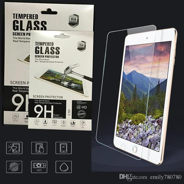 For ipad 2 3 4 5 6 Pro 10.5 Mini Mini 4 Tempered Glass Anti-Scratch 0.3MM Screen Protector New Film with Paper Retail Package