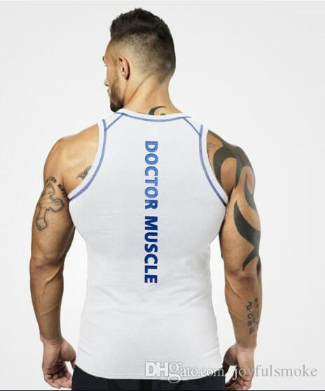 2018 new muscle doctoral vest, summer European and American fitness vest, men's knitted character training bottom vest.