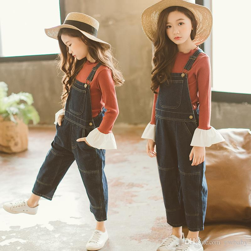 3b86a00124e5 2018 Autumn Girl Denim Overalls Kids Pants Casual Fashion Suspender Pants  Children Clothing Baby Girl Clothes Toddler Suspenders And Bowtie Little  Boy Bow ...