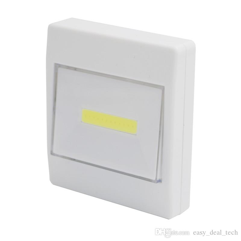 Ultra Bright Magnetic Mini COB LED Wall Light Night Light Camp Lamp Battery Operated with Switch Magic Tape for Garage Closet Q0400