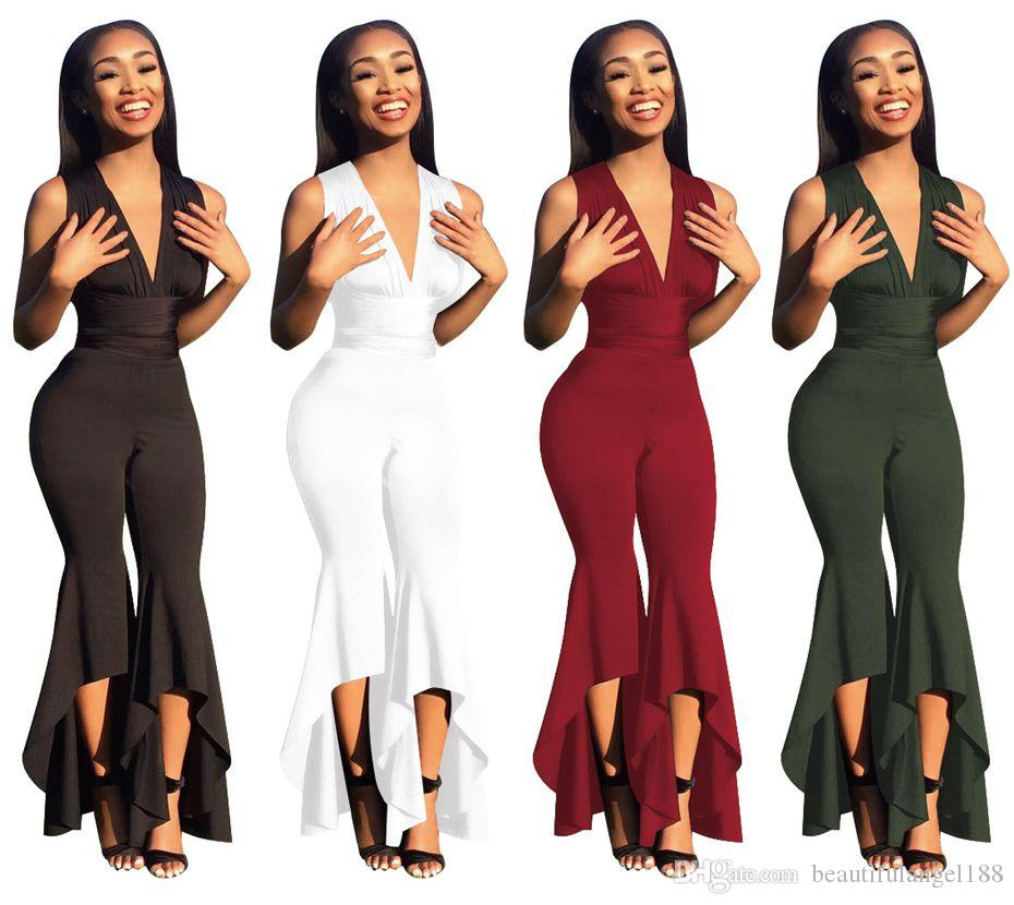 2019 2018 Wide Leg Bodycon Jumpsuit Deep V Summer Full Bodysuit Bodies  Woman Sexy Club Party Black White Rompers Womens Jumpsuit From  Beautifulangel188 27a82a23b