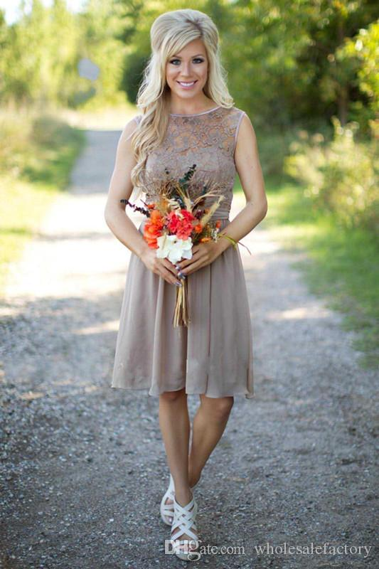 Brown Chiffon Short Country Bridesmaid Dresses Sheer Lace Top Knee Length A Line Short Wedding Guest Party Dresses