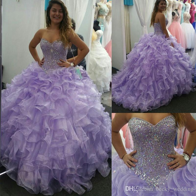 8ea9edbef2 2018 Sweet 16 Lavender Sweetheart Dresses Luxury Beaded Princess Feather  Cascading Ruffles Organza Floor Length Quinceanera Dresses Lace Up Bride  Dresses ...