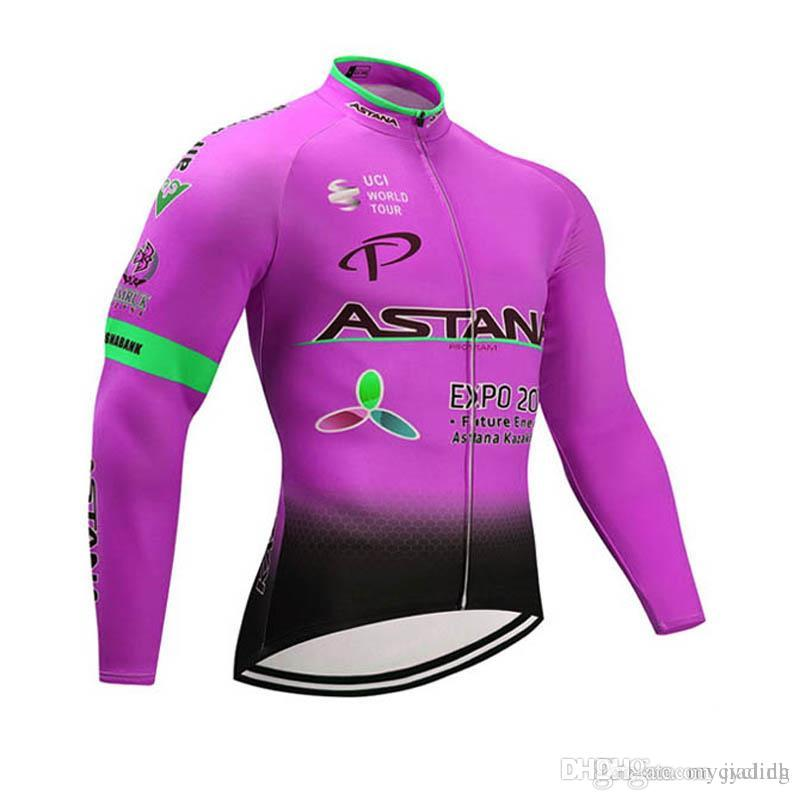 5829f4b4630 New Astana Long Sleeve Shirt Autumn Breathable Cycling Jerseys Quick ...