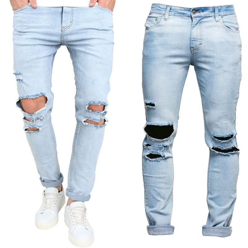 12bb8cb24bb2a Compre Moda Para Hombre Ripped Slimfit Skinny Jeans Stretch Denim Distress  Frayed Lápiz Pantalones Jeans Boys Con Estilo Largo Skinny Jeans Jeans A   41.1 ...