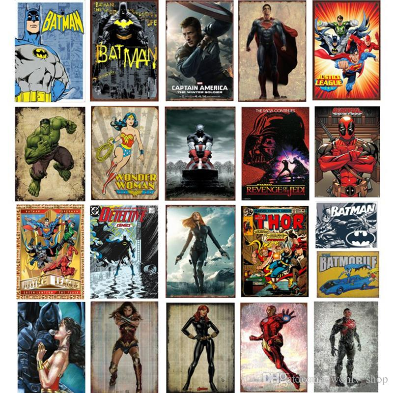 55 styles Marvel Film Super Heroes Retro Plate Metal Motor Vintage Craft Tin Sign Retro Metal Painting Poster Bar Pub Wall Art