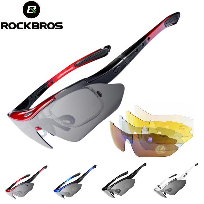 4e95e4cbee 2019 ROCKBROS Polarized Men Cycling Glasses Sports Bicycle Sunglasses Road  MTB Bike UV400 Riding Eyewear Protection Goggles 5 Lens From Kuyee