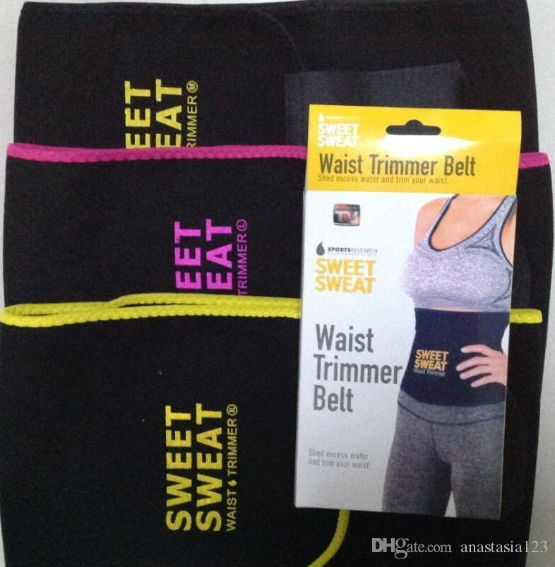 0bfccb99483 2019 3 Sizes Sweet Sweat Premium Waist Trimmer Unisex Belt Slimmer Exercise  Waist Wrap Opp Bag From Anastasia123