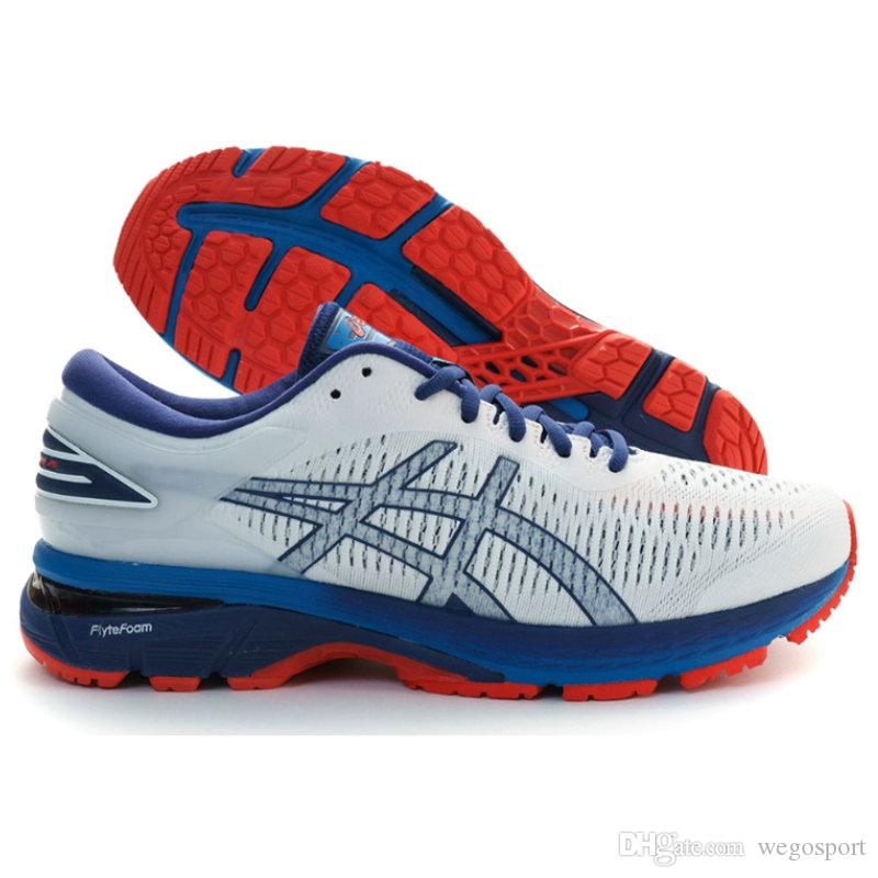 Brand ASICS GEL-KAYANO 25 Originals New White Red Dark Blue Mens Jogging Sneakers Men Running Shoes Walking Designer Sports Shoes