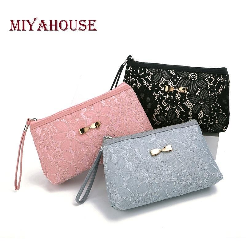 3e88133df54 Miyahouse Lace Floral Cosmetic Bag Women Bow Makeup Bags Fashion Female  Zipper Cosmetics Bag Portable Travel Make Up Pouch