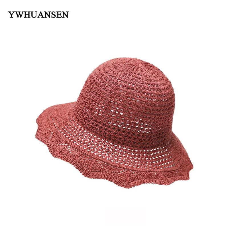 0c3d8477c6e YWHUANSEN 2018 New Woman Summer Sun Visor Bucket Hats Foldable Korean  Fashion Fisherman s Caps Solid Outdoor Tourism Dome Hats Mens Straw Hats  Mens Hat ...