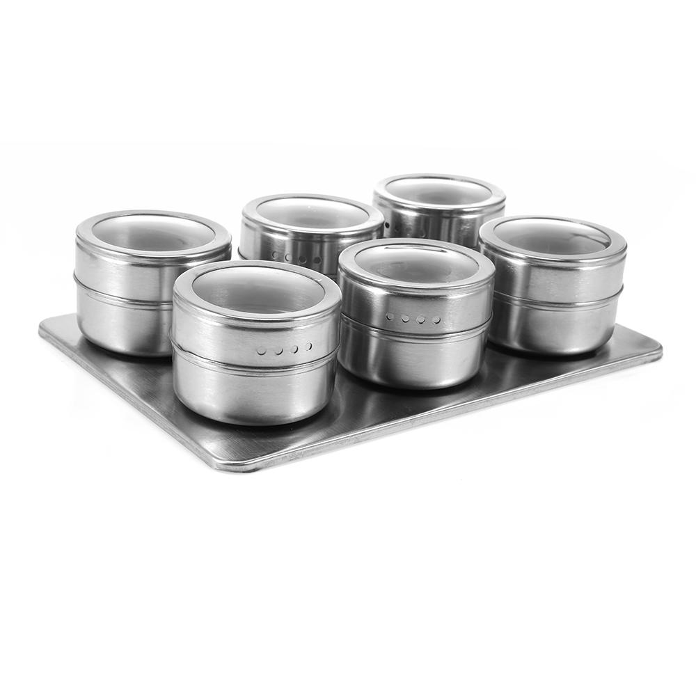2019 useful stainless steel magnetic seasoning pot cruet condiments spice rack pots set for spice pepper shakers kitchen tools from topprettymall