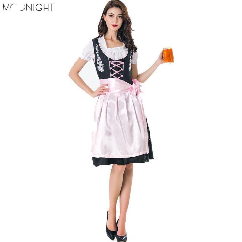 Compre MOONIGHT Disfraz De Niña De Cerveza Alemana De Halloween Disfraz De  Oktoberfest Disfraz De Mujer De Fraulein Dirndl Disfraces De Halloween Para  Mujer ... 55d3fcb6913