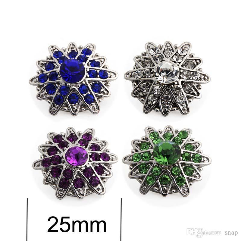 Haute qualité coccinelle 059 18mm 20mm strass bouton en métal pour bouton pression bouton Bracelet Collier Bijoux Pour Femmes bijoux en argent