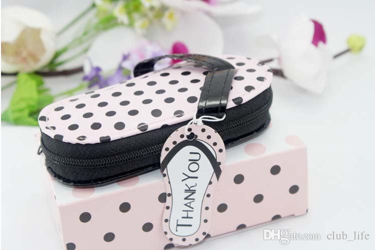 slipper style Pink Polka Dot Purse Manicure Set Shower Favors Flip Flop Nail scissor Care Pedicure Set, free ship