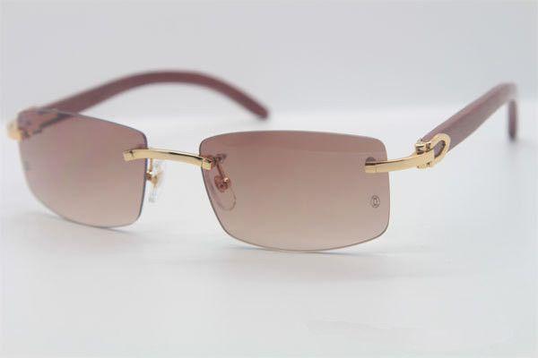 Wholesale-2018 Hot Sale 3524012 Good Wood Made Vintage Retro Women Sunglasses Rimless Green Lens Size 56-18-135mm