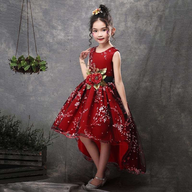 fb9b4171d6a26 Acheter Nouvelle Marque Fleur Filles Robe Enfants Princesse Parti Robes De  Mariée Pour Enfants Cérémonie De Remise Des Diplômes Bébé Enfants Longue  Queue De ...