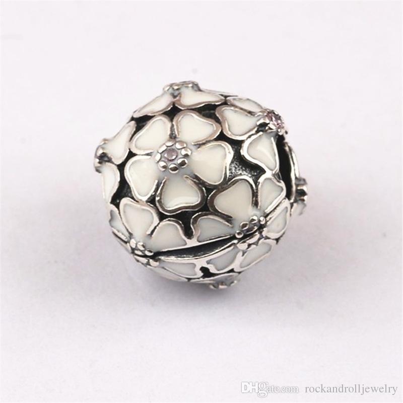 Rosa ou branco esmalte flor com cz 100% 925 sterling silver charme bead clipe para pandora pulseira cobra cadeia ou colar de moda jóias