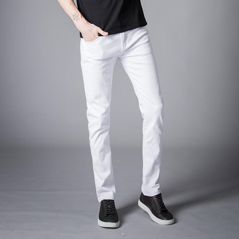1f65e9838b Compre 2018 Hombres Stretch Jeans Moda Blanco Pantalones De Mezclilla Para Hombre  Invierno Y Otoño Retro Pantalones Casuales Hombres Jeans Tamaño 27 36 A ...