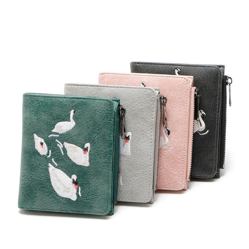 70fad3b947e Women Retro Embroidery Animal Short Wallet Coin Purse Card Holders Handbag  Fancy style mini small bag cute August 1